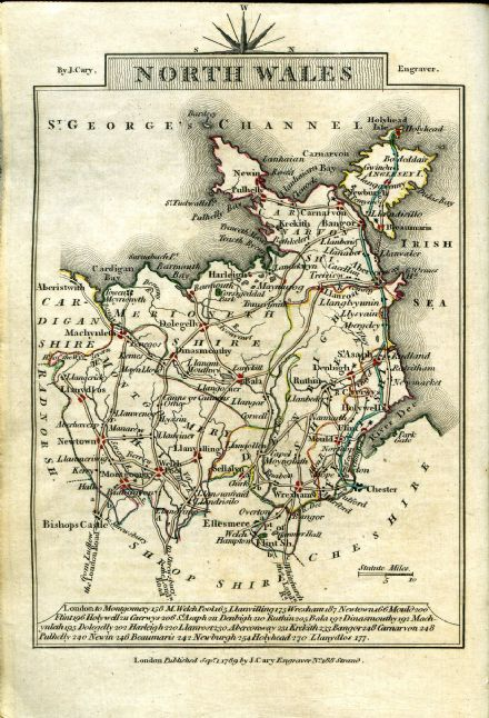 Wales - North County Map by John Cary 1790 - Reproduction